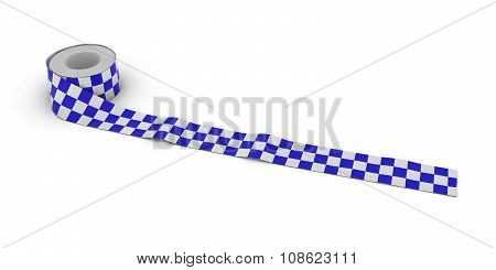 Blue And White Checkered Tape Roll Unrolled Across White Floor