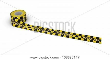 Yellow And Black Checkered Danger Tape Roll Unrolled Across White Floor