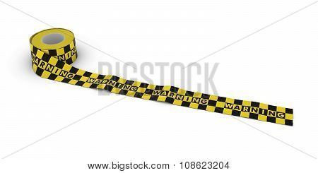 Yellow And Black Checkered Warning Tape Roll Unrolled Across White Floor