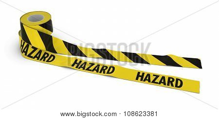 Striped Barrier Tape And Hazard Tape Rolls Unrolled Across White Floor