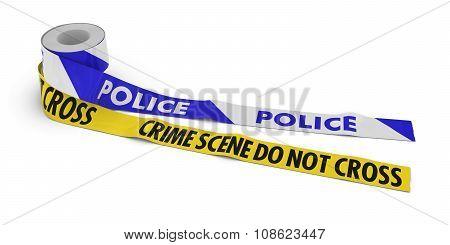 Police And Crime Scene Do Not Cross Tape Rolls Unrolled Across White Floor