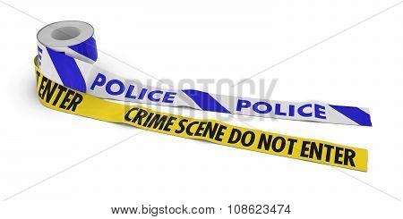 Police And Crime Scene Do Not Enter Tape Rolls Unrolled Across White Floor