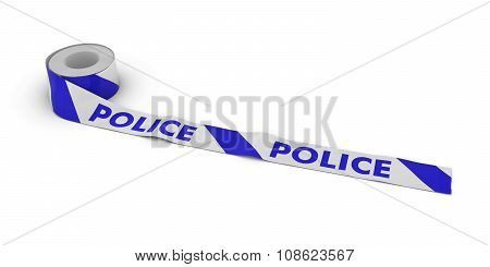 Police Barrier Tape Roll Unrolled Across White Floor