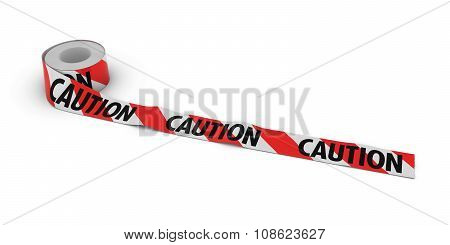Red And White Striped Caution Tape Roll Unrolled Across White Floor
