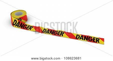 Red And Yellow Striped Danger Tape Roll Unrolled Across White Floor