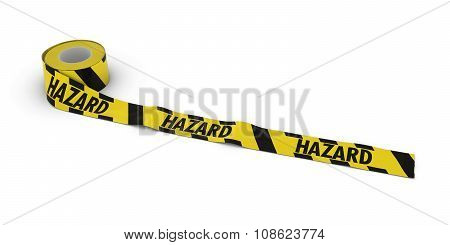 Yellow And Black Striped Hazard Tape Roll Unrolled Across White Floor