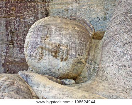 dying buddah in Gal Vihāra in the ancient capital Polonnaruwa Sri Lanka