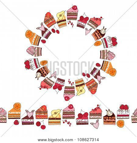 Round frame and endless pattern brush made of cake slices. For your design,  announcements, postcards, posters.