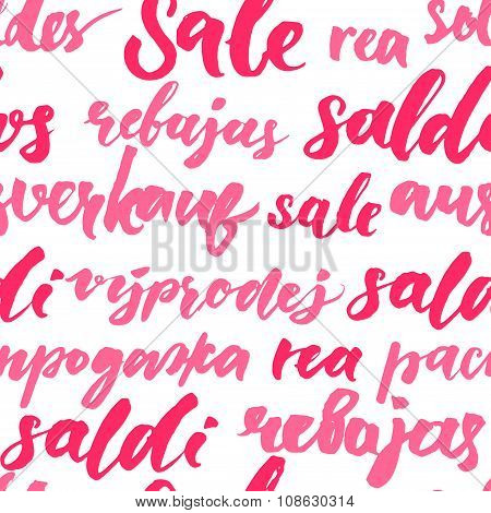 Pink sale texture with handwritten text in different languages. Seamless pattern for promo and adver
