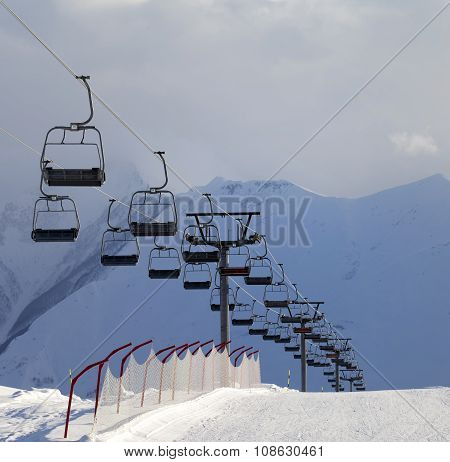 Snow Skiing Piste And Ropeway
