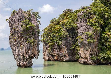 Khao Tapu rock at James Bond island Andaman Sea Thailand poster