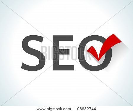 Flat design word SEO isolated on white background