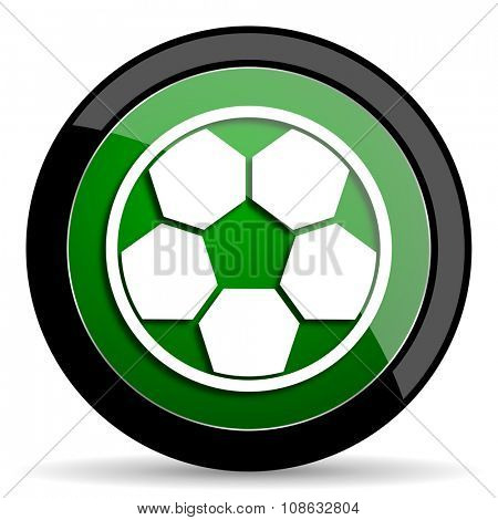soccer green web glossy circle icon on white background