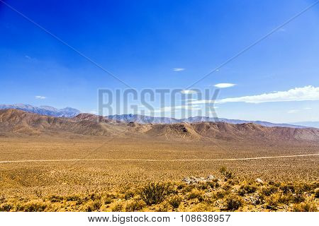 Panamint Valley desert under clear blue sky