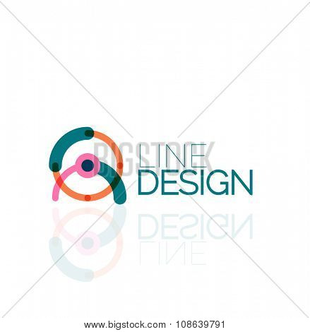 Outline swirl and circle minimal abstract geometric logo, linear business icon made of line segments, elements. Vector illustration of loop, inifnity concepts poster