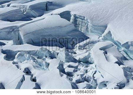 Large Crevasses And Seracs On The Aletsch Glacier