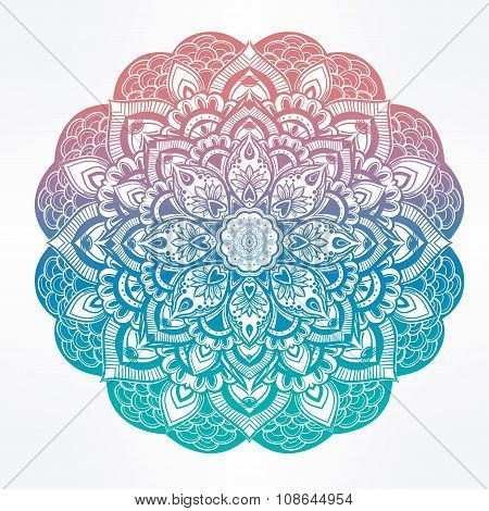 Paisley floral mandala illustration.