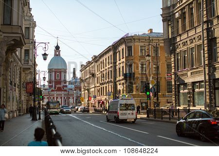 St.PETERSBURG, RUSSIA - SEP 10, 2015: View of the Pestel street in center of SPb. Current name since 1925 (from 1777 was called Panteleymonovskaya street)