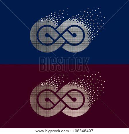 vector abstract flying pixel eternity emblem