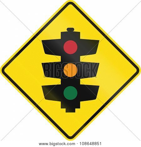 New Zealand road sign PW-3 - Traffic signals ahead. poster