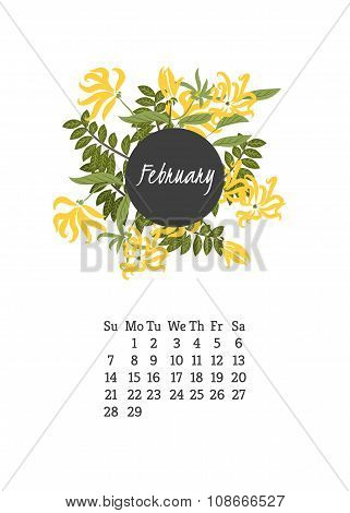 Calendar for 2016 with flowers ylang-ylang