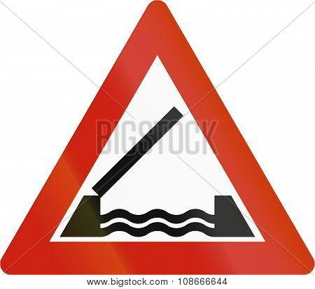 Norwegian Road Warning Sign - Movable Bridge
