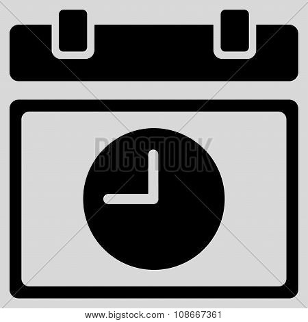 Time Schedule glyph icon. Style is flat symbol, black color, rounded angles, light gray background. poster