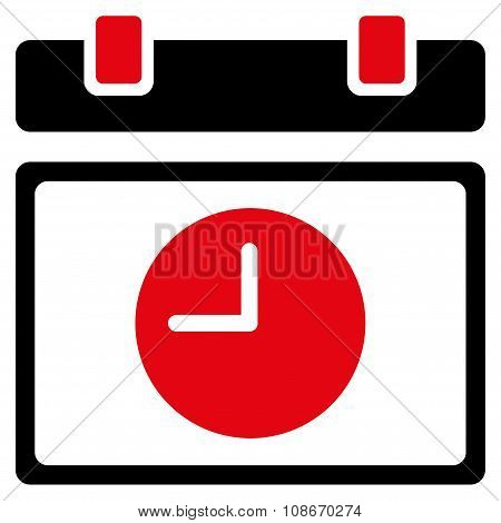 Time Schedule vector icon. Style is bicolor flat symbol, intensive red and black colors, rounded angles, white background. poster