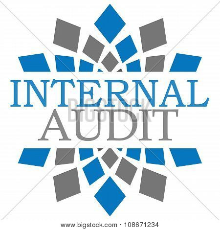 Internal audit text written over abstract blue grey background. poster