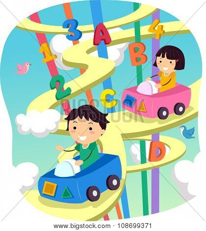 Stickman Illustration of Kids Driving on a Whimsical Highway
