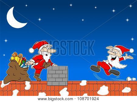 Santa Claus At Work On A Roof Meets Another Santa Claus
