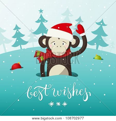 New Year card with cute monkey - the symbol of 2016. Vector illustration with place for text.