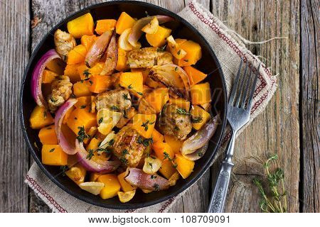 Roasted Pumpkin And Meat On The Pan