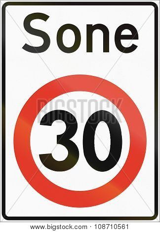 Norwegian Regulatory Road Sign - Restricted Speed Zone. Sone Means Zone