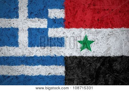 Greece and Syria flags