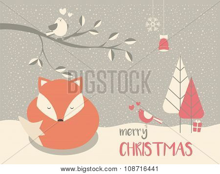 Cute Christmas Sleepy Baby Fox Surrounded With Floral Decoration