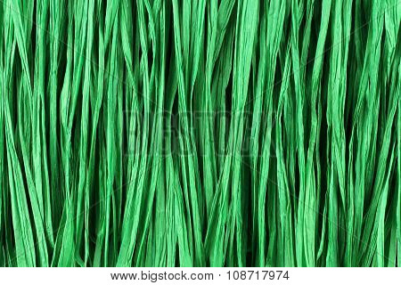 Background - green paper raffia strips placed in parallel lines.