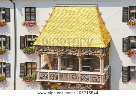 INNSBRUCK, AUSTRIA - JULY 11, 2015 : Closeup of famous Golden Roof (Goldenes Dachl) in Innsbruck, Austria on July 11, 2015. The roof was built in the 15th century in honor of Maximilian's second marriage
