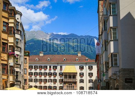 INNSBRUCK, AUSTRIA - JULY 11,2015 : The iconic Golden Roof (Goldenes Dachl) on Maria Theresien street in Innsbruck, Austria on July 11, 2015. The roof was built in the 15th century.