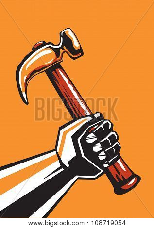 Human hand with a hammer