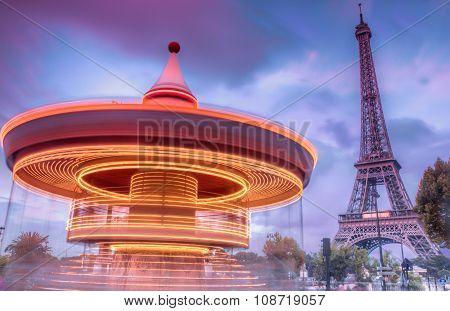 Carrousel With Eiffel Tower