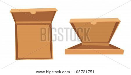 Open pizza box vector illustration