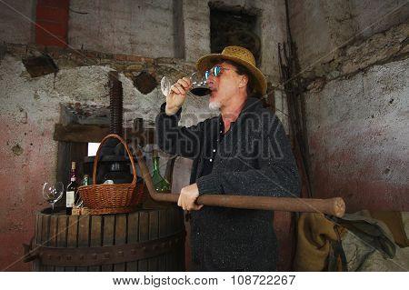 Winemaker Drinking Red Wine