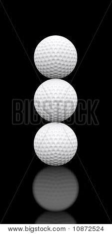 Golf Balls Stacked Three High