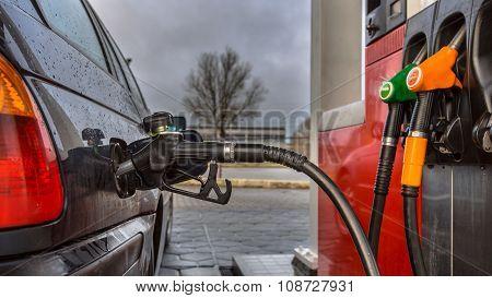 Fuel Station Pump Nozzle Close Up