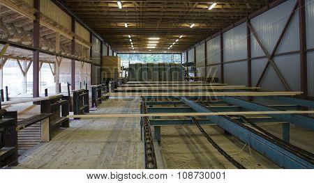 Cut Wood Planks On Conveyor In Sawmill