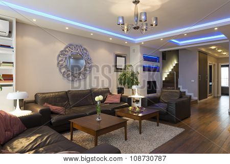 Luxury specious living room interior with modern ceiling lights poster