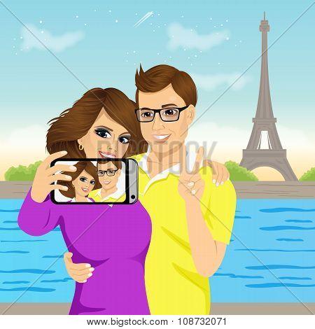 attractive couple taking selfie photo