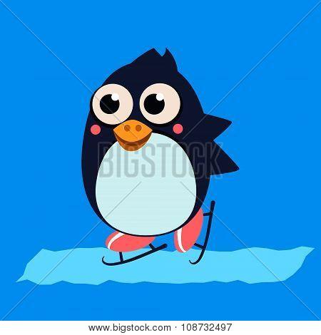 Penguin Skating on Ice. Vector Illustartion