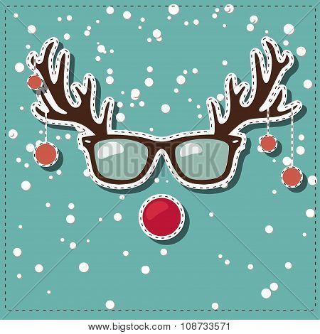 Christmas greeting card with Rudolf